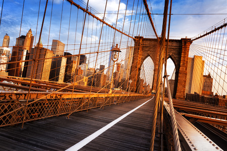 manhattan bridge: New York City, USA, early in the morning on the famous Brooklyn Bridge