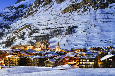 ski lift: Famous and luxury place of Val dIsere at sunset, Tarentaise, Alps, France Stock Photo