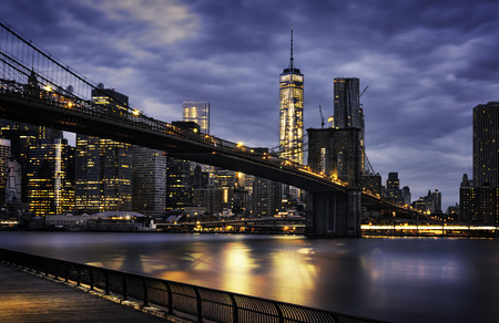 manhattan bridge: New York City - beautiful sunrise over manhattan with manhattan and brooklyn bridge USA