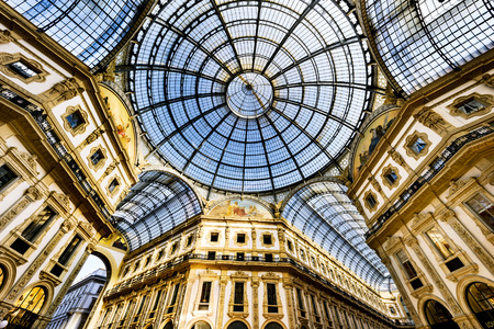 italian architecture: Glass dome of Galleria Vittorio Emanuele in Milan, Italy Editorial