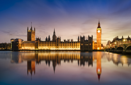 politics: Big Ben and Westminster Bridge at dusk, London, UK