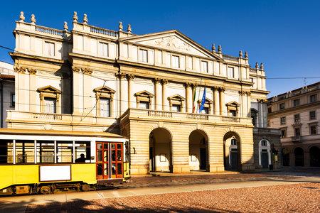 la: Piazza La Scala and La Scala theatre, in Milan. ITALY Editorial