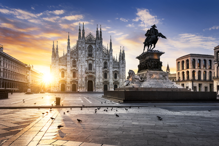 medieval: Duomo at sunrise, Milan, Europe. Stock Photo