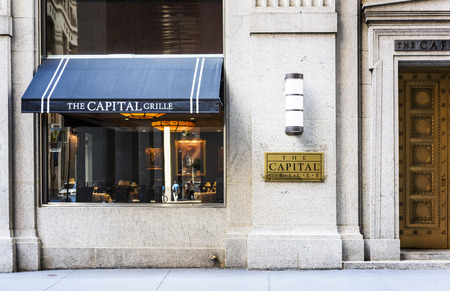 traders: NEW YORK, USA - JULLY 11, 2015 : Luxury restaurant in Wall street district where buisnessmans and traders are coming for lunch or dinner. New York city, USA Editorial