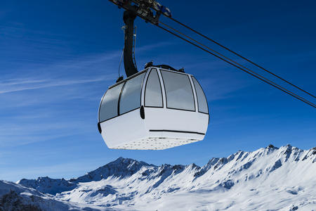 val: Cablecar to Val dIsere, Alps in winter, Tarentaise, France
