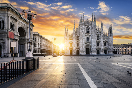 Duomo at sunrise, Milan, Europe. Archivio Fotografico