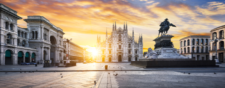 historic architecture: Duomo at sunrise, Milan, Europe. Stock Photo