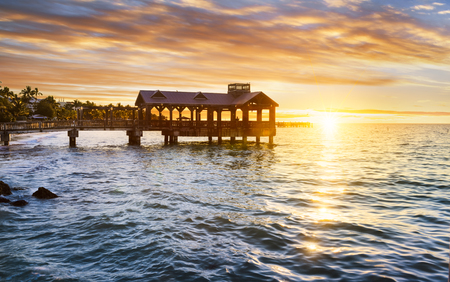 key of paradise: Pier at the beach in Key West, Florida USA