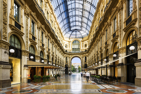 Glass dome of Galleria Vittorio Emanuele in Milan, Italy 新聞圖片