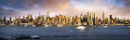 new york city panorama: Lower Manhattan skyline. Giant panoramic view USA