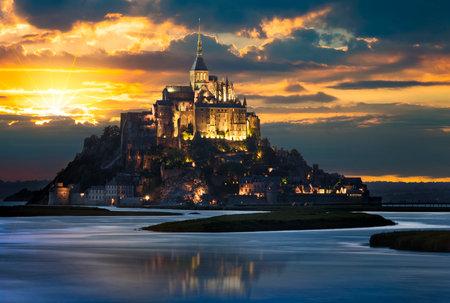 michel: Le Mont-Saint-Michel at sunset, Normandie, Bretagne, France, Europe
