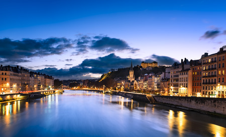 rhone: View of Saone river in Lyon city at evening, France Stock Photo