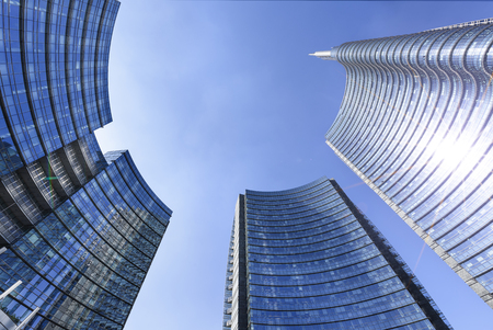 View of the new buildings in the square Gae Aulenti and Corso Como in Porta Nuova area. Standard-Bild