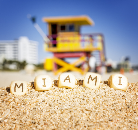 florida house: Maimi Southbeach, lifeguard house with letters on the sand, Florida, USA,