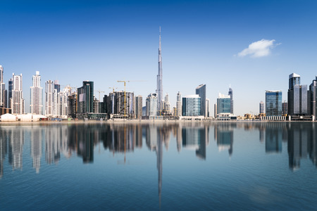 biggest: Dubai skyline, United Arab Emirates Stock Photo