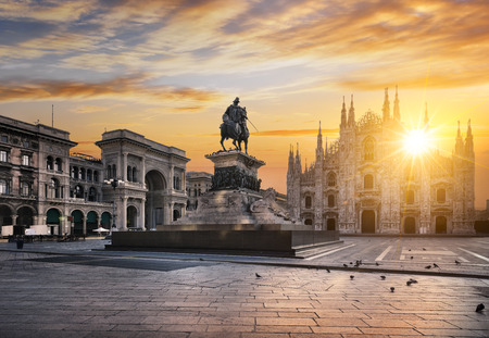 Duomo at sunrise, Milan, Europe. Stock Photo