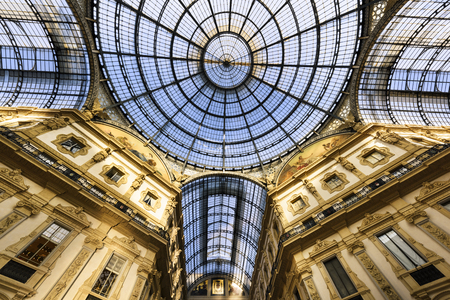 vittorio emanuele: Glass dome of Galleria Vittorio Emanuele in Milan, Italy Editorial