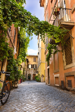 alley: View of Old street in Trastevere in Rome, Italy