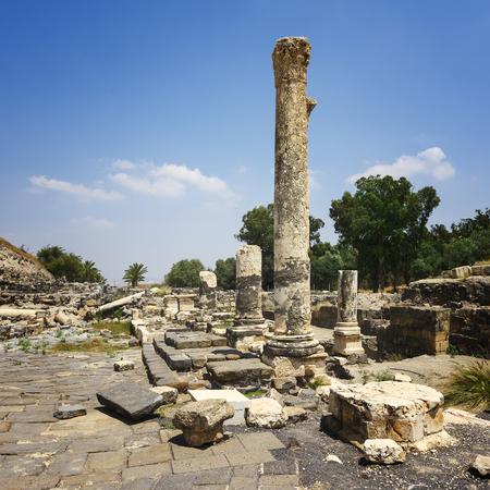 est: Ruins of the ancient Roman city Bet Shean, Israel