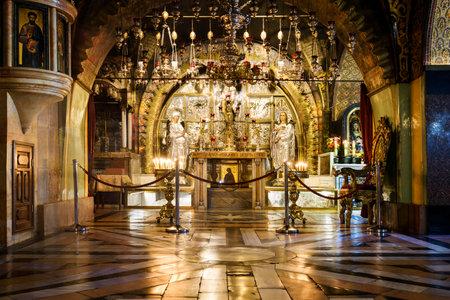 Jerusalem, Israel, Mai 05, 2017 : Jerusalem, Israel. On a Mount Calvary, altar in Temple of the Holy Sepulchre, Jerusalem, Israel