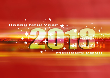 Dessign of happy new year 2018, blue background, wishes card