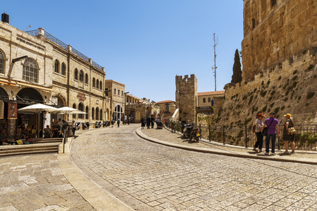 JERUSALEM ISRAEL 05 may 2017: Jaffa Gate, Hebron Gate, Bab Mihrab Dawud, Gate of the Prayer Niche of David or David's Gate is a stone portal in the historic walls of the Old City of Jerusalem.