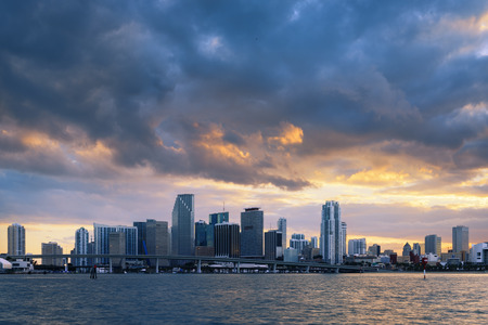 Miami skyline city skyline panorama at dusk