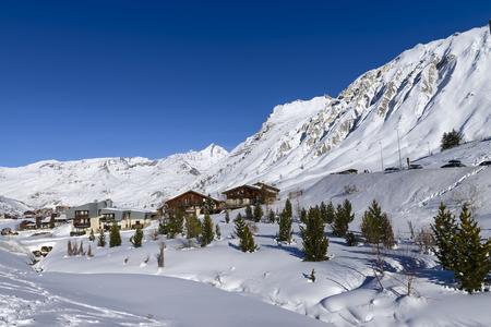 Llandscape and ski resort in French Alps, Tignes, Le Clavet, Tarentaise, France