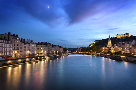 night view from Lyon city near the Fourviere cathedral and Sa?ne river Editorial