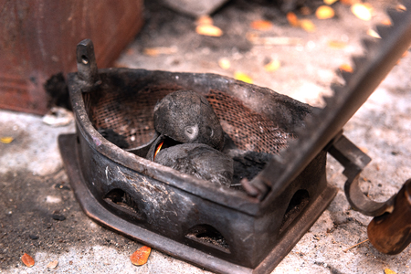 traditional charcoal iron in landery, cochin, India Imagens