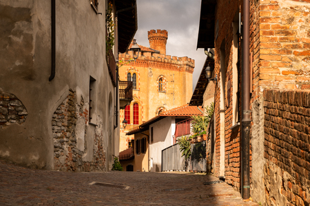 Famous beautiful Barolo village in Piemonte zone, Langhe, Italy. Barolo is the name of a famous red wine in Italy produced in this part of Italy