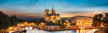 Ile de la Cite and Notre Dame at sunset, Paris, France