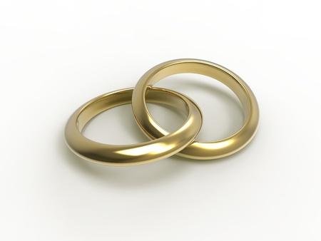 alliances: 3d illustration of wedding rings over white background