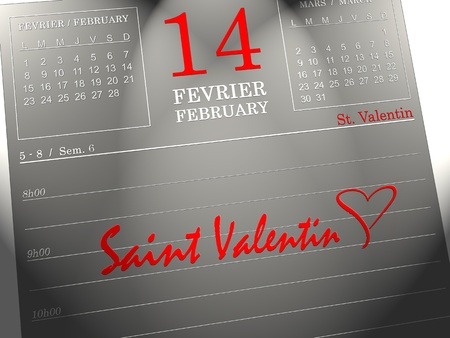 2d illustration of calendar with a heart on valentines day