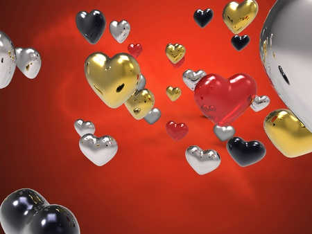 radiosity: saint valentine day with hearts of different textures on red background Stock Photo
