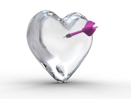 thunderbolt for lovers : a dart stuck in a crystal heart Stock Photo