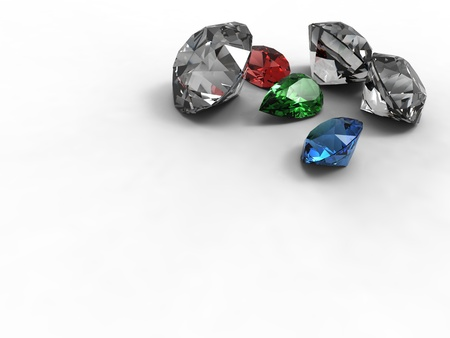This is diamonds emerald and ruby different forms on white back.