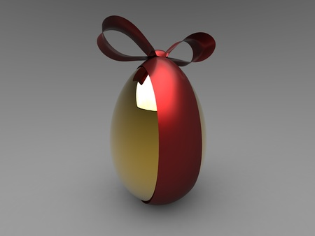 3d isolate illustration of golden egg with red ribbon illustration
