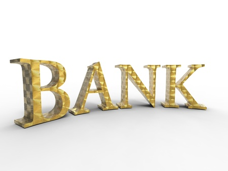 3D illustration of the curve gold word bank on white background