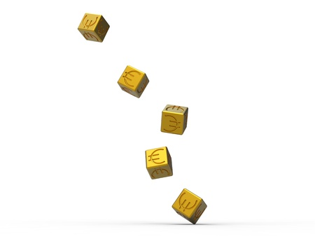 randomness: roll of the dice in gold with the euro symbol