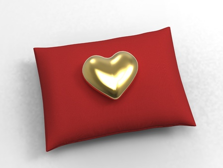 3d illustration of a velvety cushion and heart on white background Stock Photo