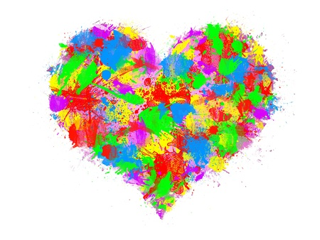 complicity: projection of several colors on a pink heart Stock Photo
