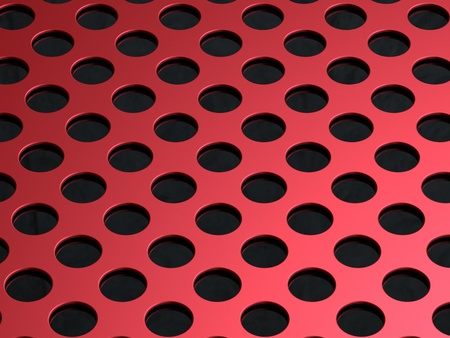 3D illustration of the red perforated metal plate on black background