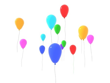 one released colored balloons on white background photo