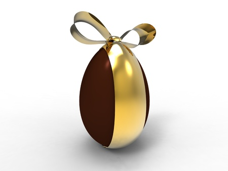 3d isolate illustration of chocolate egg with golden ribbon illustration