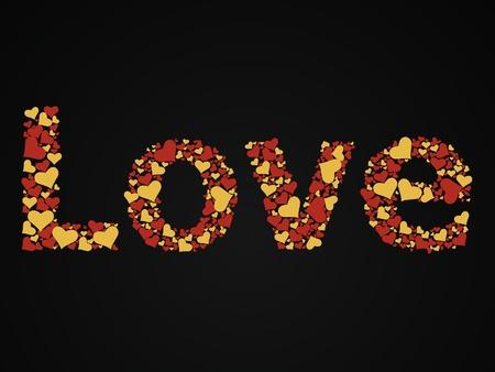 radiosity: 3d illustration of the word love written with glitter heart-shaped