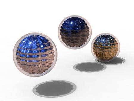 weightless: Ilustraci�n 3D de 3 met�lico y esfera de cristal en ingravidez