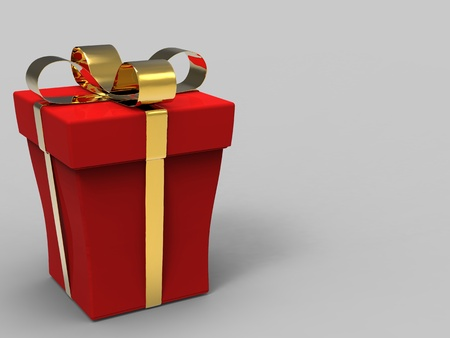 3D illustration rendering of a wrapped red gift box illustration