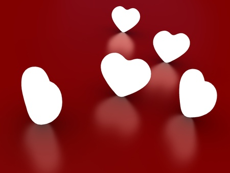 radiosity: 3d rendered illustration of lights hearts on red background