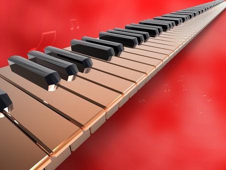 instrumentos musicales: Ilustraci�n 3D de teclado interminable de oro sobre fondo aislar